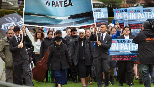 Ngati Ruanui iwi went to Parliament to voice its protest against the Trans-Tasman Resources' plans to mine iron sand off ...