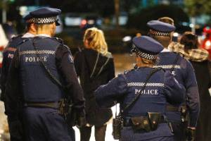 Police on Wellington's Blair Street. Authorities are planning to close Blair and Allen Streets on weekend nights to ...