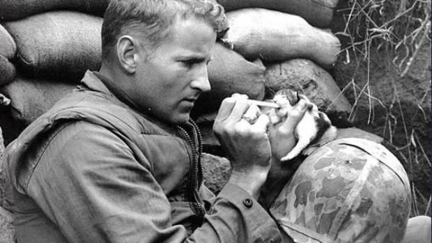 'Miss Hap', a two-week old kitten feeds on canned milk, piped to her by US Marine Sergeant Frank Praytor. He adopted the ...