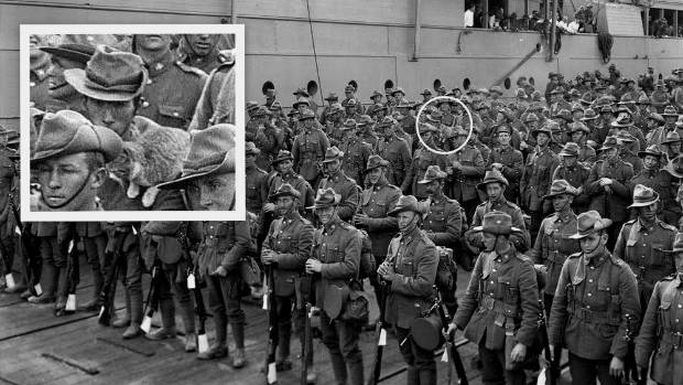 New Zealand soldiers line up at Lyttelton in 1914, ready for a journey to the battlefields. A close look reveals that ...