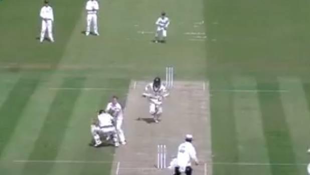 Middlesex batsman John Simpson is accidentally flattened by Neil Wagner.