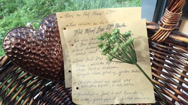 """In a wicker basket were the nonperishables along with a handwritten menu and idiot-proof cooking instructions."""