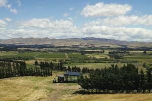 Looking over the Waipara Valley from above the PurePod at Waipara's Greystone Vineyard.