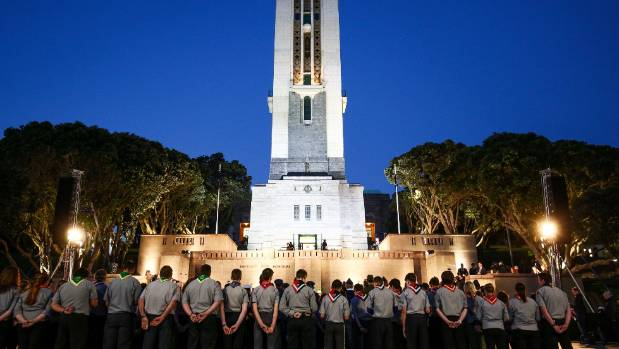 The National War Memorial Carillon during Anzac Day dawn service at Pukeahu National War Memorial Park.