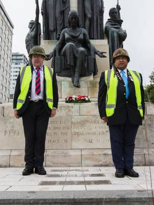 Craig Cormack and David Rarere get a rare opportunity to visit the closed off Christchurch Citizens' War Memorial.
