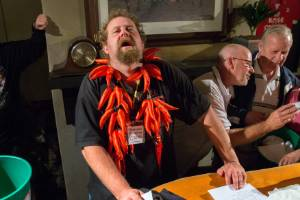 Rob Kent feels the burn at the 2016 Palmerston North heat of the NZ Chilli Eating Champs. He is returning to defend his ...