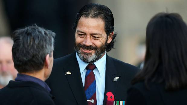 VC winner Willie Apiata mingles with members of the public during the Anzac Day dawn service at Pukeahu National War ...