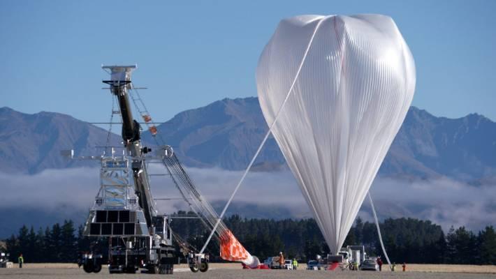 Nasa's super pressure balloon inflates at Wanaka Airport in 2017.