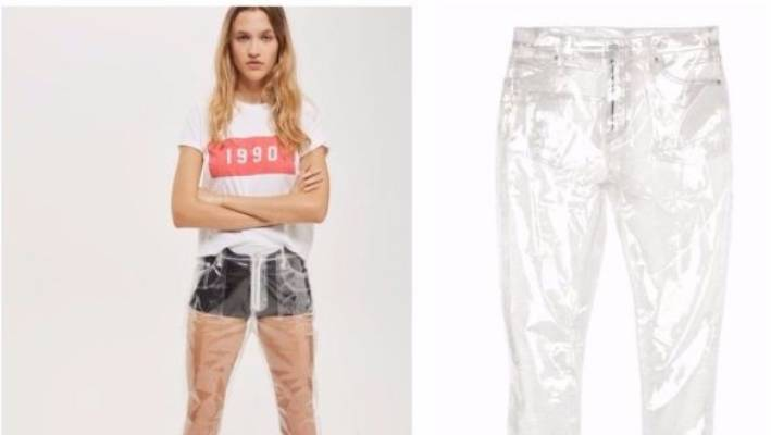 Topshop has released a pair of clear plastic 'jeans', which cost about $100