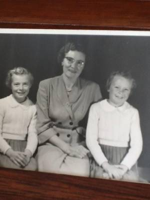 Beryl, left and Valerie, right, with their mother Dorothy Redman in 1954 after their father died saving people in the ...