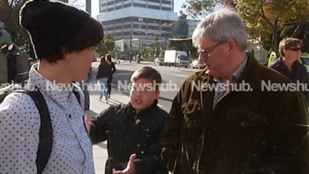 Newshub was interviewing peace activists Ellie Clayton and Laura Drew when they were interrupted by David Broome, and ...
