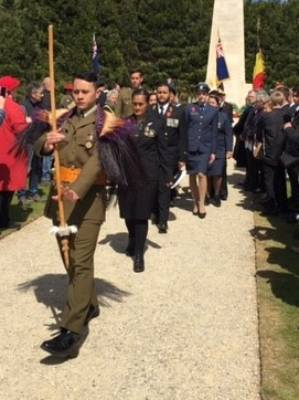 Anzac Day ceremony at the New Zealand Memorial, Messines, Belgium 2017.