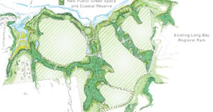 An artistic impression of development at Okura. With light green stripes to be housing and surrounding darker greens to ...