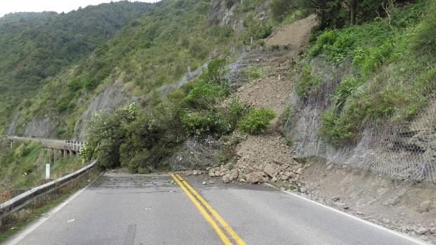 The smaller slip at the Ashhurst end of the gorge.