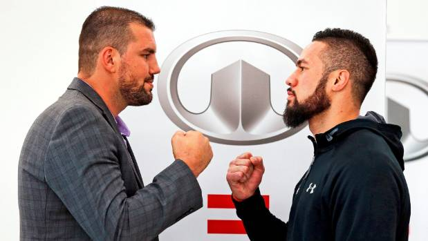 Razvan Cojanu and Joseph Parker square off during their press conference in Auckland ahead of next week's WBO world ...