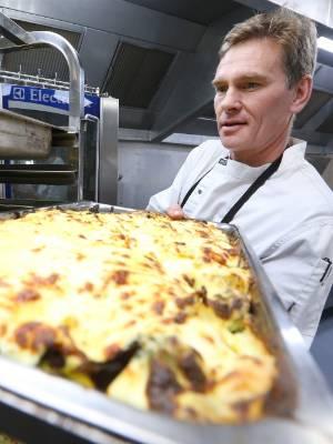 BV Gourment second chef Chris Pearce prepares a vegetable bake.