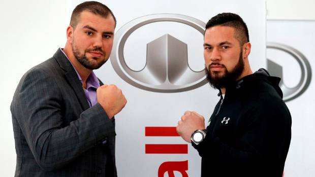 Big Romanian Razvan Cojanu, left, is Joseph Parker';s new opponent.