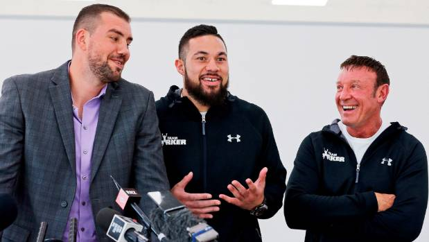 Razvan Cojanu, Joseph Parker and Kevin Barry share a laugh.