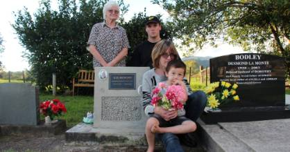 Raymond Bedford's family, daughter Judy Fleming, left, great grandson Josh Fleming, granddaughter Kathy Fleming and ...