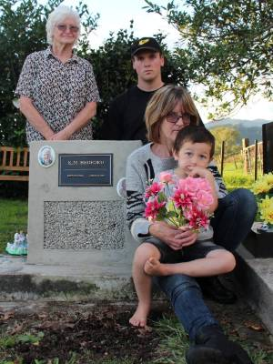 Raymond Bedford's family, daughter Judy Fleming, left, great grandson Josh Fleming, granddaughter Kathy Fleming and ...