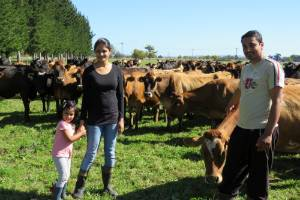 26042017-NZF Hauraki contract milkers Dipika and Vijay Patil with daughter Ira, aim to become official Kiwis this year.