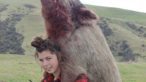 Louisa McClintock at the conclusion of a successful pig hunt near Cheviot in 2014.