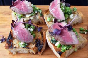 100913. Feature. Photo: Supplied. SIlverfern Farms chef tasting. Silere Merino bruschetta