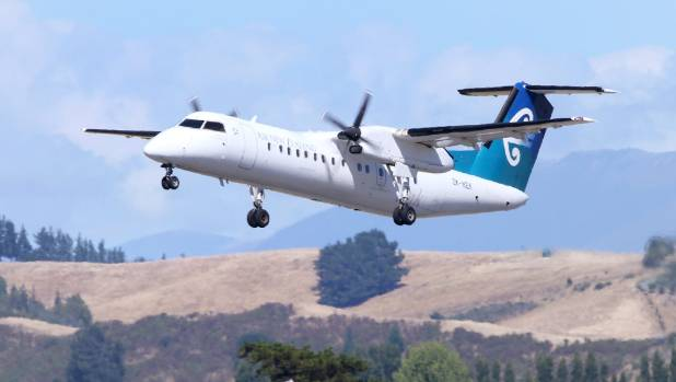 An Air New Zealand Bombardier Q300 takes off from Marlborough Airport. (File photo)