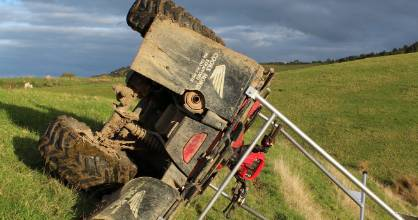 Firth of Thames farmer Steve Knudsen developed the quad roll-over protective system (QUADROPS) after two scares.