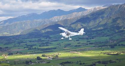 Air Kaikoura Aero Club, pictured with its training plane near Mt Fyffe, supplied a service between Kaikoura and Clarence.