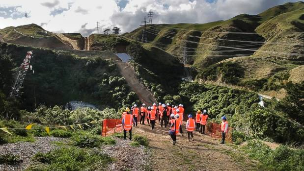 Transport Minister Simon Bridges and Otaki MP Nathan Guy visit the Transmission Gully worksite.