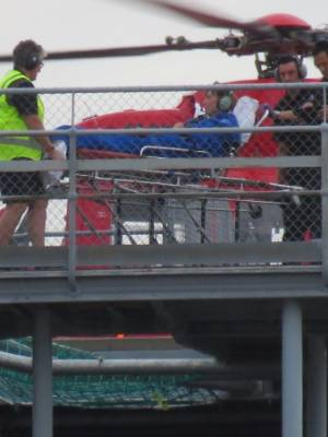 The French tourist arrives at Dunedin Hospital by helicopter after she was attacked by a shark while bodyboarding in ...