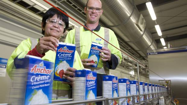 Cream in a box: Fonterra's new UHT whipped cream coming off the line at its Waitoa plant.