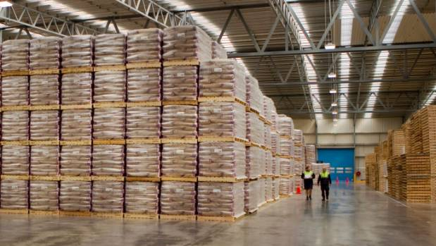 Piled high: Milk powder waiting to go at Fonterra's Darfield plant.