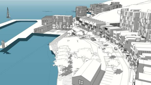 An artist's impression of the proposed Shelly Bay development, depicting a cantilevered boardwalk.