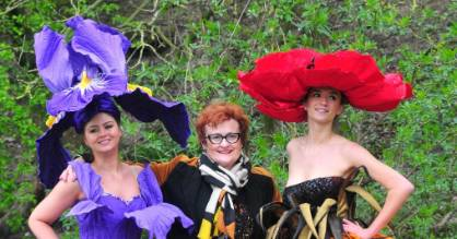 Jenny Gillies, centre, was invited to the Harrogate Spring Flower Show in the UK to display her floral costumes as the ...