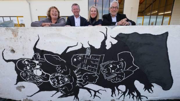 From left, city councillor Vicki Buck, Southbase Construction chief executive Quin Henderson, SCAPE Public Art Director ...
