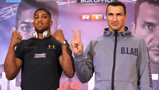 """It's """"V for victory"""" in the mind of Wladimir Klitschko as he fronts the international media with rival Anthony Joshua ..."""