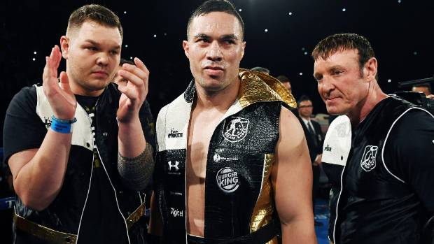 Taylor and Kevin Barry alongside Joseph Parker in Team Parker gear before his successful world title fight with Andy Ruiz.