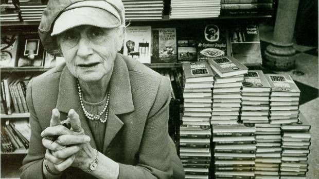 Dame Ngaio Marsh at a book signing in Wellington for her book Tied up in Tinsel in 1972.