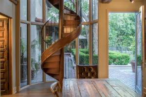 This hand-crafted spiral staircase was made in Belgium.