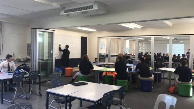 The innovative learning environment at Marlborough Boys' College is made up of two labs and a separate room in the centre.