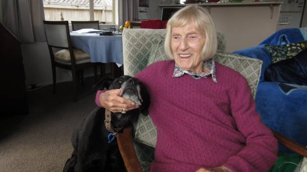 Elizabeth Young, 90, lives with her staffie-huntaway-labrador Jet in a unit at a retirement village in Whangarei.
