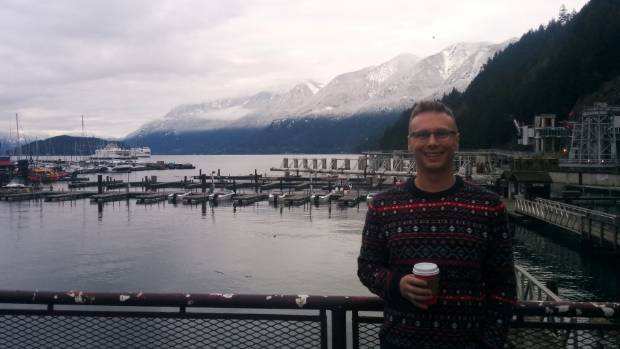 Shannon Crowley by Vancouver's picturesque harbour in winter.