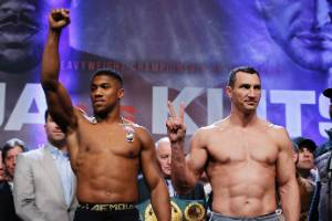 Anthony Joshua and Wladimir Klitschko at the weigh in before Sunday's big fight.