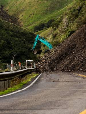 Two slips are about 2 kilometres apart and it will take weeks for the road through the Manawatu Gorge to reopen.
