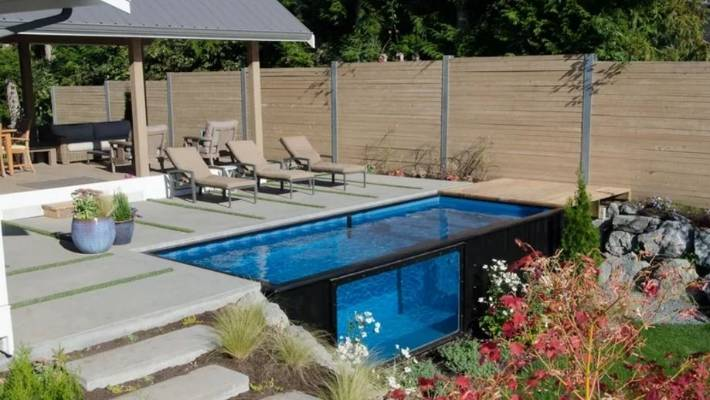Shipping containers can make great swimming pools for Above ground swimming pools nz