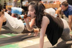 The class allows participants the chance to meditate while sipping beer.