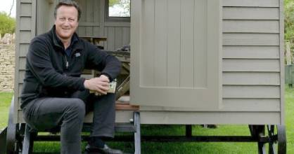 Former British PM David Cameron with his new garden shed from Red Sky Shepherds Huts.