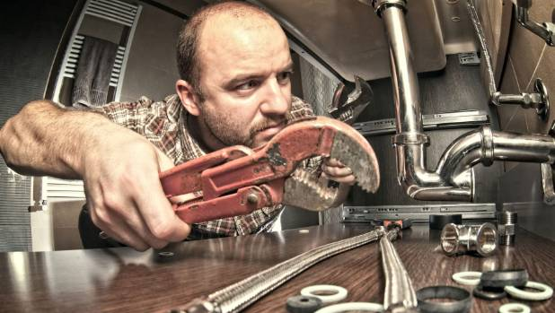 Underneath the sink is no place for a homeowner or a handyman. Plumbing work needs to be performed by a licensed ...